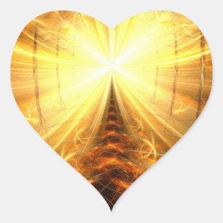 La luz en el extremo del túnel pegatina en forma de corazón