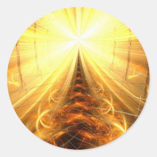 La luz en el extremo del túnel pegatina redonda