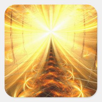 La luz en el extremo del túnel pegatina cuadrada