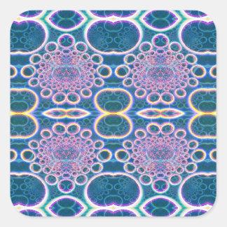 La luz suena arte olográfico azul claro del efecto pegatina cuadrada
