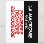 """La Macronie Fourberie Tromperie Escroquerie paper2<br><div class=""""desc"""">Trois mots synonymes de Macronie!!! Design noir et blanc sur feuille de papier = id&#233;al comme mini-afichette facile &#224; coller partout.</div>"""