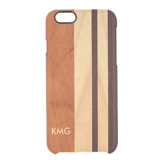 La madera con monograma hermosa raya el modelo funda clearly™ deflector para iPhone 6 de uncommon