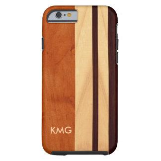 La madera con monograma hermosa raya el modelo funda de iPhone 6 tough