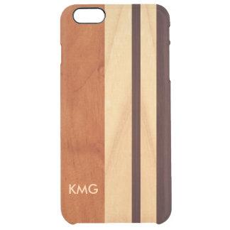 La madera con monograma hermosa raya el modelo funda clearly™ deflector para iPhone 6 plus de unc