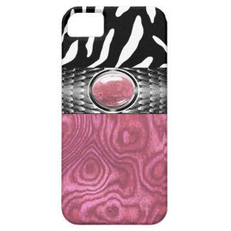 La madera de la cebra y del Burl con la joya Funda Para iPhone 5 Barely There
