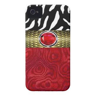 La madera de la cebra y del Burl con la joya iPhone 4 Case-Mate Protector