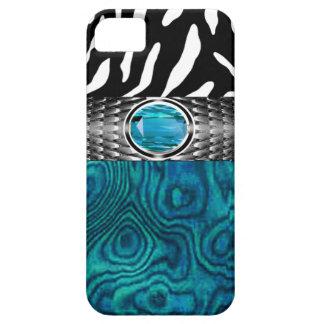 La madera de la cebra y del Burl con la joya iPhone 5 Carcasas