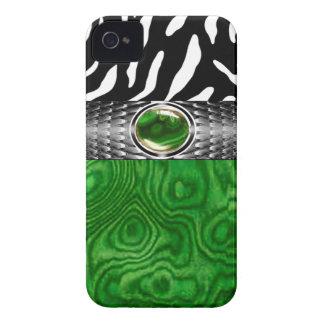 La madera de la cebra y del Burl con la joya iPhone 4 Case-Mate Protectores