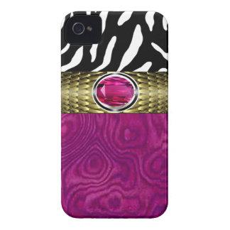 La madera de la cebra y del Burl con la joya iPhone 4 Case-Mate Carcasas