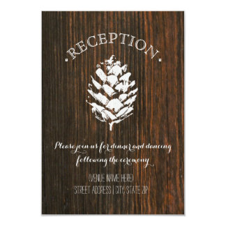 """La madera del cono del pino inspiró a la recepción invitación 3.5"""" x 5"""""""