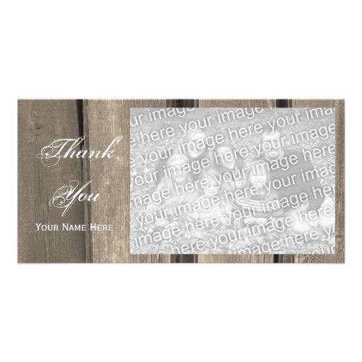 La madera del granero del país le agradece tarjeta tarjeta fotografica personalizada