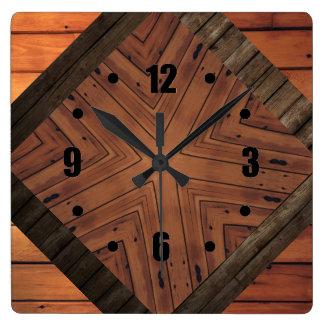 La madera diseña el caleidoscopio cuadrado de los reloj cuadrado