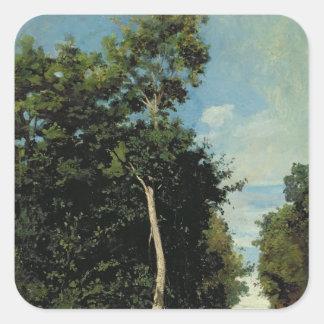 La madera en el Cote de Grace en Honfleur Pegatina Cuadrada