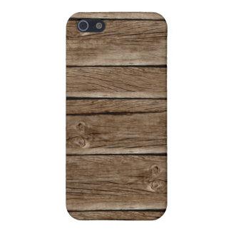 La madera llevada vieja sube a la caja de la mota  iPhone 5 fundas