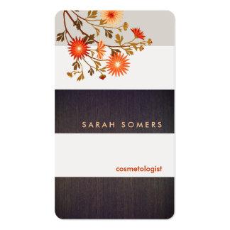 La madera moderna raya la naturaleza de las flores tarjetas de visita