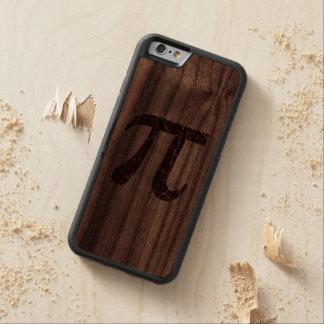 La madera rasguñada y envejeció símbolo rojo de la funda de iPhone 6 bumper nogal