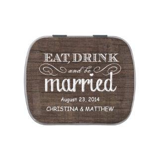 La madera rústica come, bebe, esté casada casando frascos de caramelos