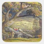 La madera Wain, c.1833-34 (w/c y aguazo en el Pegatina Cuadradas Personalizada