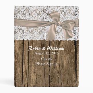 La madera y el boda del cordón firman adentro la mini carpeta