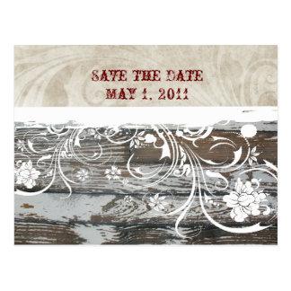 La madera y el pergamino ahorran la fecha postales