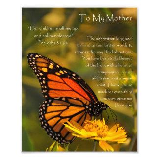"""La madre 31:6 de los proverbios"""" de la mariposa de impresiones fotográficas"""