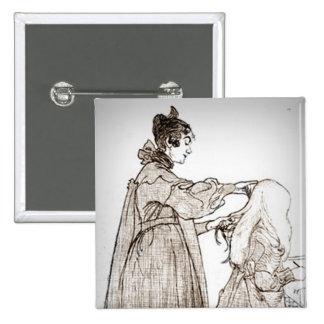La madre cepilla el pelo de su hija pin cuadrada 5 cm