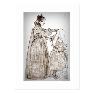 La madre cepilla el pelo de su hija tarjeta postal