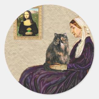 La madre de la marmota - gato persa del calicó etiquetas redondas