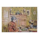 La madre del artista que toma el desayuno, 1899-19 tarjeta de felicitación