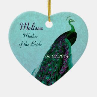 La madre del pavo real de la novia le agradece adorno navideño de cerámica en forma de corazón