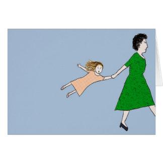 La madre está en una tarjeta de nota de la prisa