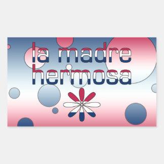 La Madre Hermosa America Flag Colors Pop Art Rectangular Sticker