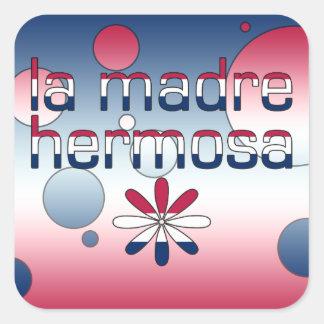 La Madre Hermosa America Flag Colors Pop Art Square Sticker