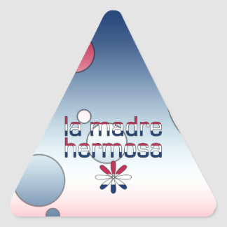 La Madre Hermosa America Flag Colors Pop Art Triangle Sticker