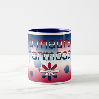La Madre Hermosa America Flag Colors Pop Art Two-Tone Coffee Mug
