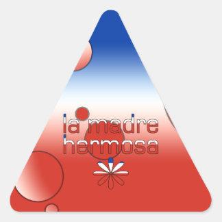 La Madre Hermosa Chile Flag Colors Pop Art Triangle Sticker