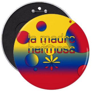 La Madre Hermosa Colombia Flag Colors Pop Art Pinback Buttons