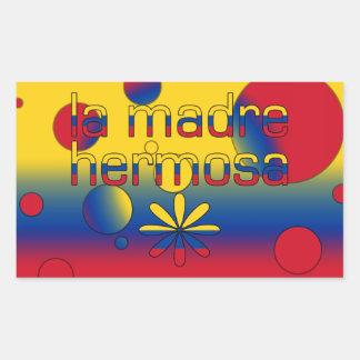 La Madre Hermosa Colombia Flag Colors Pop Art Rectangular Sticker