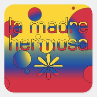 La Madre Hermosa Colombia Flag Colors Pop Art Square Sticker