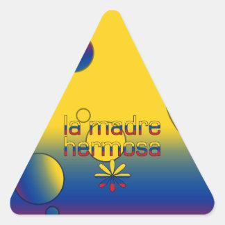La Madre Hermosa Colombia Flag Colors Pop Art Triangle Sticker