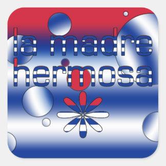 La Madre Hermosa Cuba Flag Colors Pop Art Square Sticker