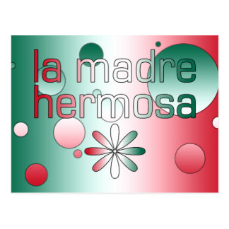 La Madre Hermosa Mexico Flag Colors Pop Art Postcard