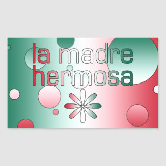 La Madre Hermosa Mexico Flag Colors Pop Art Rectangular Sticker