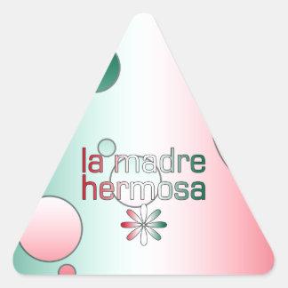 La Madre Hermosa Mexico Flag Colors Pop Art Triangle Sticker