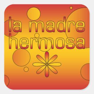 La Madre Hermosa Spain Flag Colors Pop Art Square Sticker