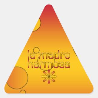 La Madre Hermosa Spain Flag Colors Pop Art Triangle Sticker