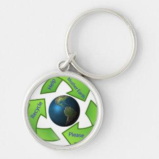 La madre tierra de la ayuda recicla por favor llavero redondo plateado