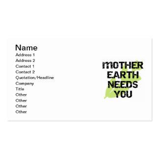 La madre tierra le necesita las camisetas y los tarjetas de visita