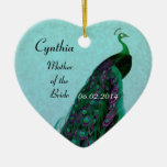 La madre verde de la aguamarina del boda de la ornamento para arbol de navidad