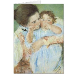 La madre y niño - tarjeta de Cassatt